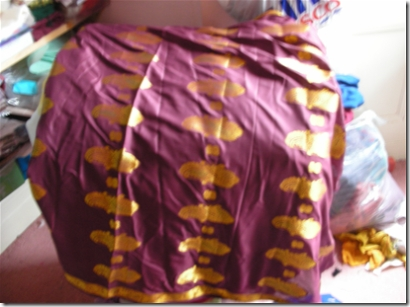 burgundy coloured silk sari fabric