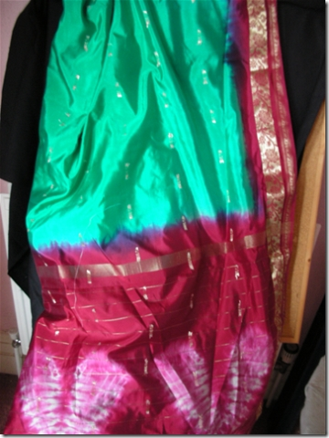 green and red sari silk with tie dyeing