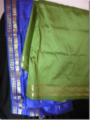 blue and green sari fabric