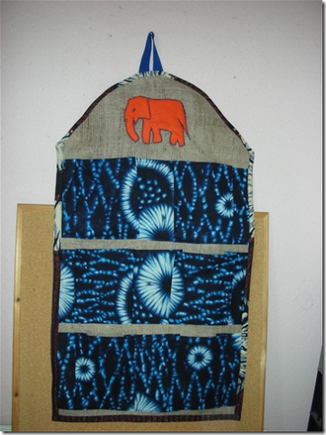wall tidy made from Dutch wax prints with elephant motif