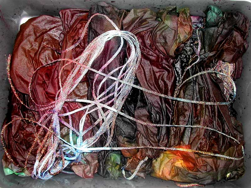 fabric and thread being dyed