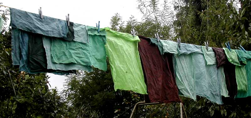 green and brown fabrics drying