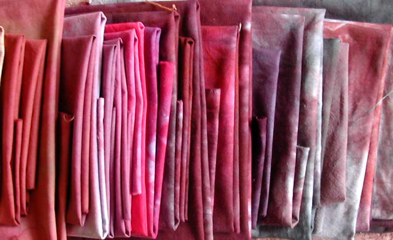 dyed fabric all folded and lined up
