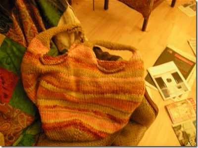 knitted bag prior to felting.