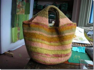 felted bag in greens, browns and pinks