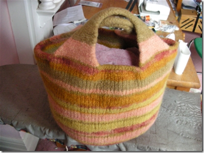 felted bag being shaped