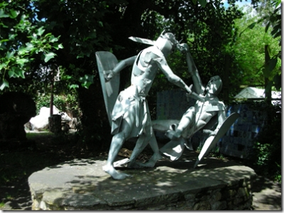 sculpture of knights fighing
