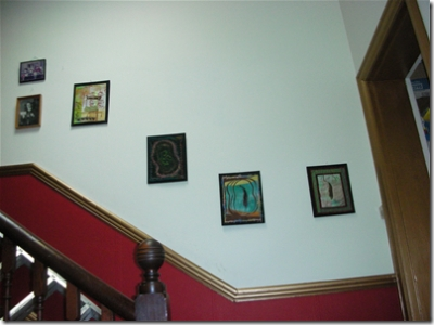 journal quilts in stairway
