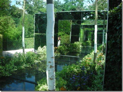 garden with mirrors
