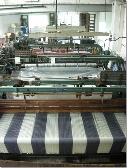 looms in woollen mill