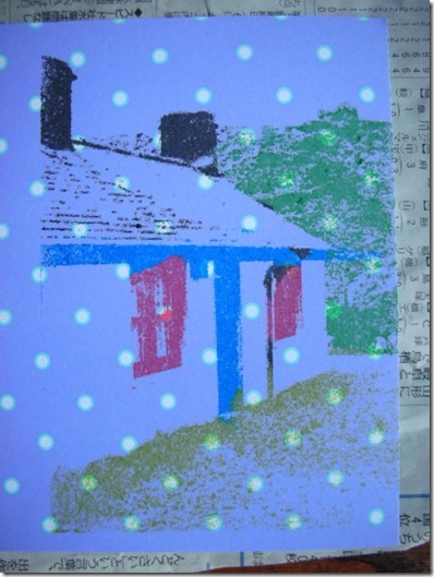 gocco print of slate worker's cottage