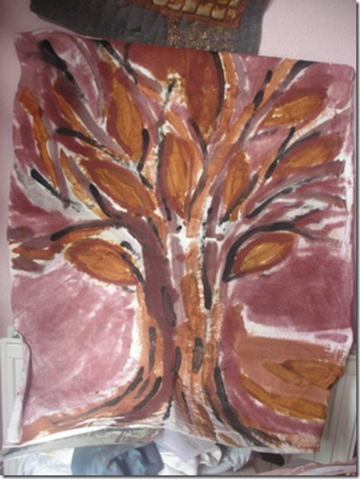 tree ochre painted