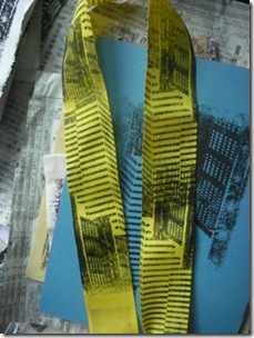 ribbon printed with skyscraper gocco print