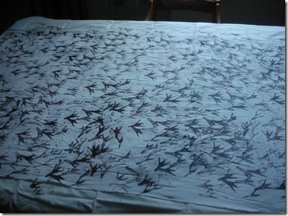 screenprinted fabric, bird prints