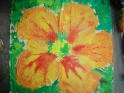 nasturtium flower on fabric