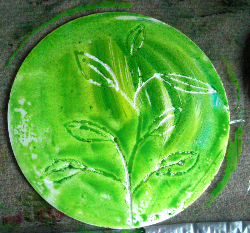 Green painted plate