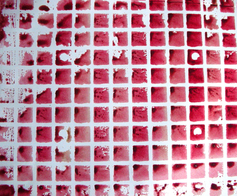 result of printing the red paint with the squares