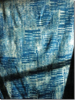 blue screenprinted fabric