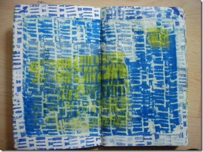 sketchbook page with screenprinted fabric
