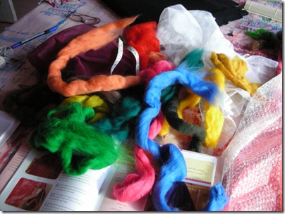 tangle of merino wool tops