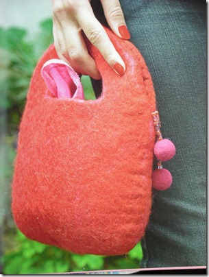 red felted bag from book