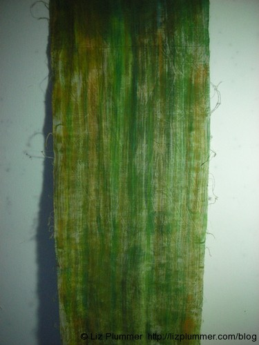 dry brushed green fabric - detail