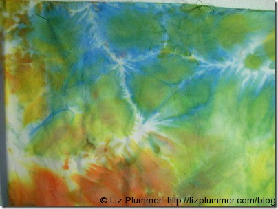 ice dyed fabric green, blue and orange