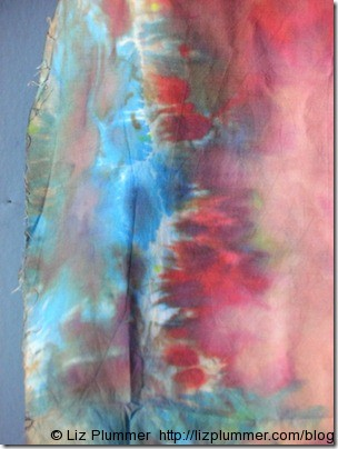 ice dyed fabric, blue and red/pink