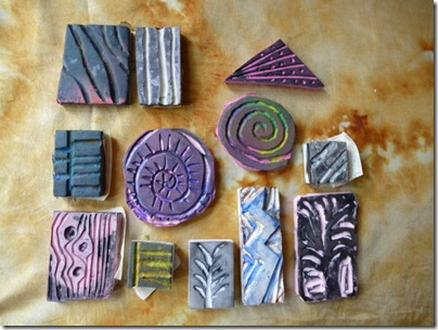 12 carved stamps from erasers