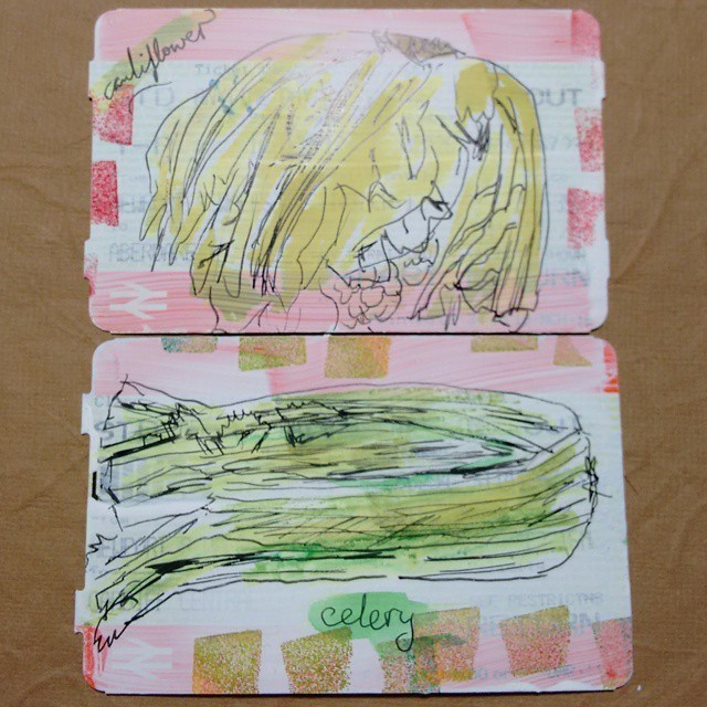 #trainticketart drawings of vegetables (cauliflower and celery).