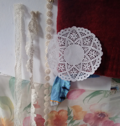 Moodboard with lace, doiley and flower fabric