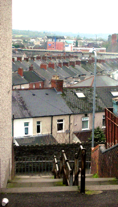 Lots of terraced houses in Newport from the top of some steps