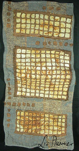 Dilapidation: Wallhanging using rust printed fabric and applique