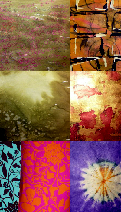 Lots of colourful printed and dyed paper
