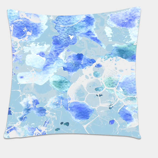 Mockup of water spray pattern on cushion