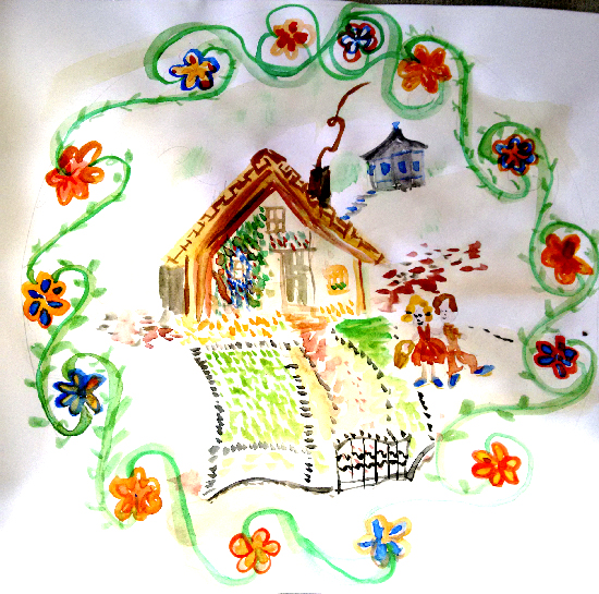 A rough painting of a cottage in the style of vintage crockery