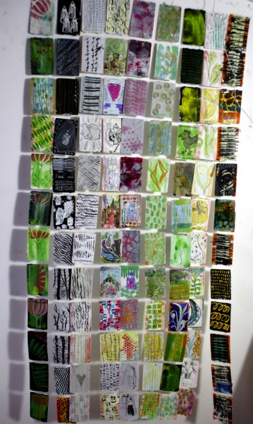 Here are some of the rows of train tickets all stitched together, a sneak preview!