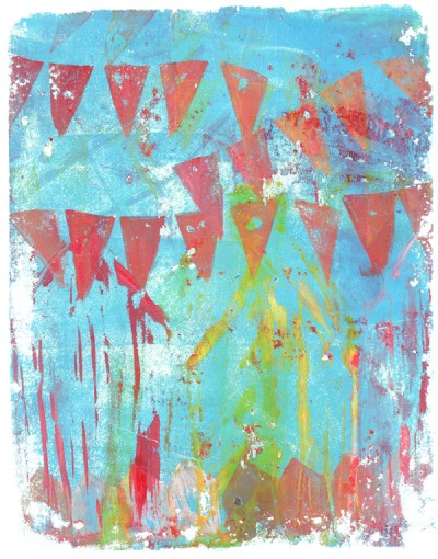 gelli print with stamped bunting and beach hut shapes
