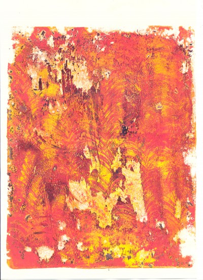 another gelli print, orange this time
