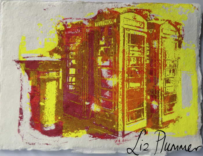 Gocco printed Khadi postcard in fluorescent colours of phoneboxes in Cheltenham