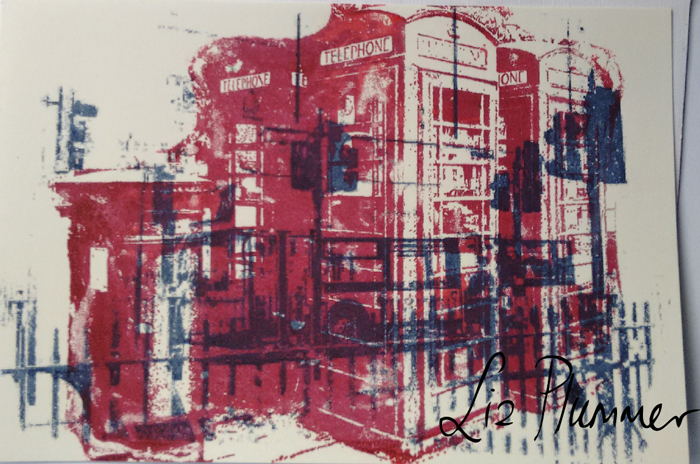 Gocco print of phoneboxes overprinted on to another print