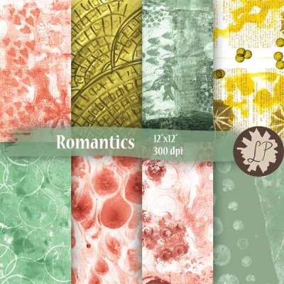 painted papers digital download - romantics collection