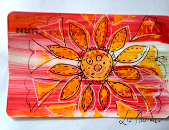 yellow daisy train ticket art