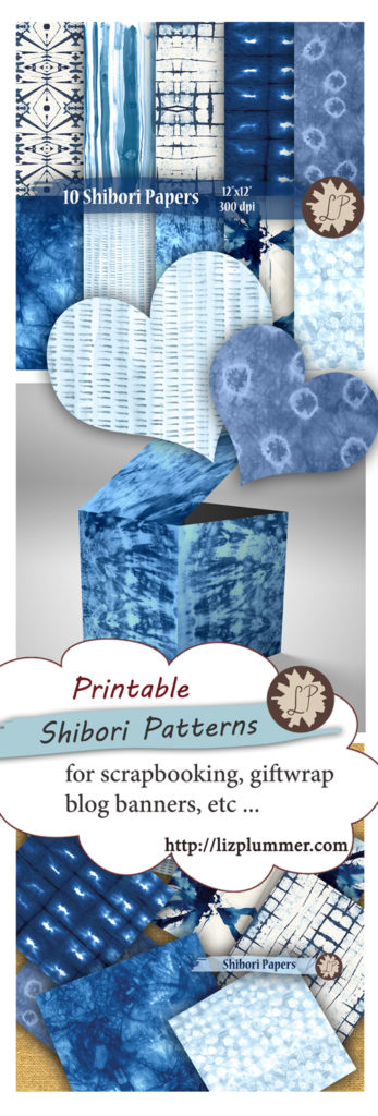 Indigo shibori Digital Paper Pack by Liz Plummer - printable for scrapbook paper, DIY wedding invitations, envelopes, etc