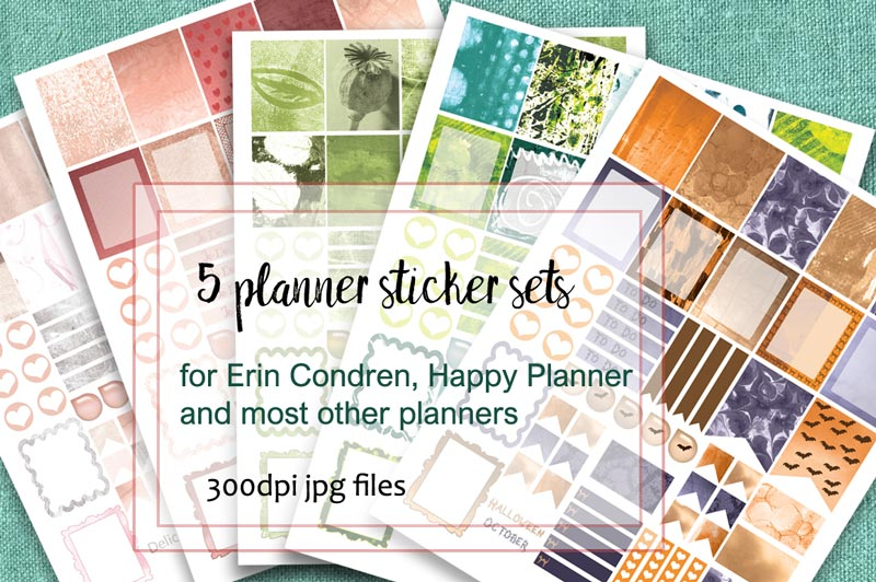 5 sets of planner stickers in contrasting colours