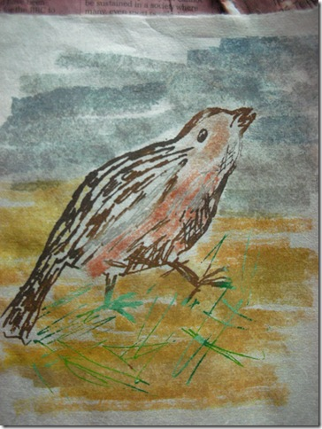 Gocco bird with watercolour background