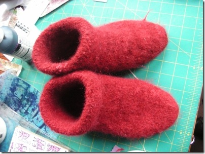 finished felted slippers