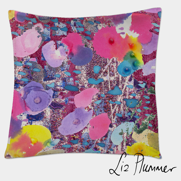 Mockup of jewel garden pattern on cushion at a different scale